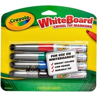 Crayola Whiteboard Chisel Tip Markers - Pack Of Four NEW