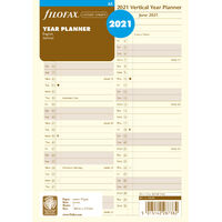 2021 Refill Filofax Year Planner A5 Cotton Cream Vertical 21-68508