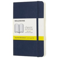 Moleskine Classic Soft Cover Pocket Notebook Squared Blue Sapphire