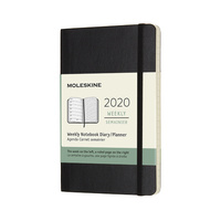 Moleskine 2020 Diary 12-Month Weekly Notebook Planner Soft Cover Pocket Black