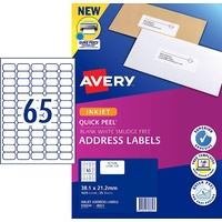 Avery InkJet Quick Peel Address Label White Stickers 38.1x21.2mm 65 per Sheet
