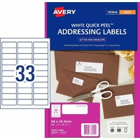 Avery InkJet Quick Peel Address Label White Stickers 64x24.3mm 33 per Sheet