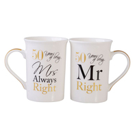 Mugs Set - Mr & Mrs 50th Anniversary by Gibson Gifts, Anniversary Gift
