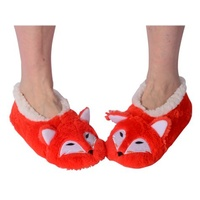 Nuzzles Animal Slippers Fox Non Slip Sole Socks One Size Fits All
