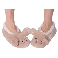 Nuzzles Animal Slippers Rabbit Non Slip Sole Socks Adult One Size Fits Most