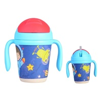 Bamboo Baby Bottle With Straw - Space Boy