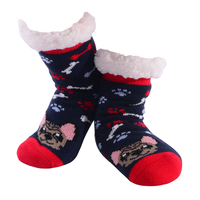 Nuzzles Kids Playful Pooch Navy Non-Skid Sole Socks One Size Fits All