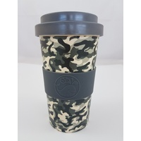Happy Green Whale Bamboo Eco Cup - Large 450ML - Grey Camo