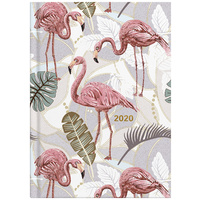 2020 Milford Flamingo White Leaves Diary A5 Week to View