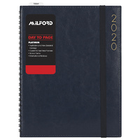 2020 Milford Platinum Diary A4 Day to Page Wiro Navy 441096