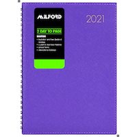 2021 Diary Milford Boston A5 2 Days to a Page Purple Wiro 441377