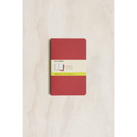 Moleskine Cahier Journal, Set of 3, Large, PLAIN, Cranberry Red, Soft Cover