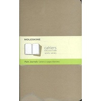 Moleskine Cahier Large Plain Notebook Set of 3, Kraft
