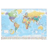 Educational POSTER - World Map with Country Flags 61 x 91.5 cm NEW, Postage Paid