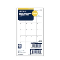 Filofax 2018 Refill - Personal, Month on Two Pages, English (18-68410) Free Post