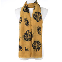 Ivys Yellow Leaves Summer Scarf 70 cm x 180 cm
