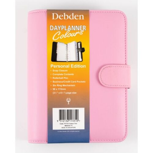 2020 Debden DayPlanner Organiser 6-Ring Personal Complete PU Snap Pink PR7050