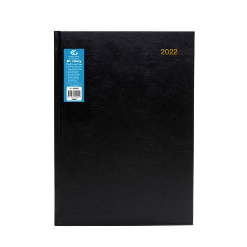 2021 Diary Hard Cover A5 Day to Page Black by Olympia #5 40002