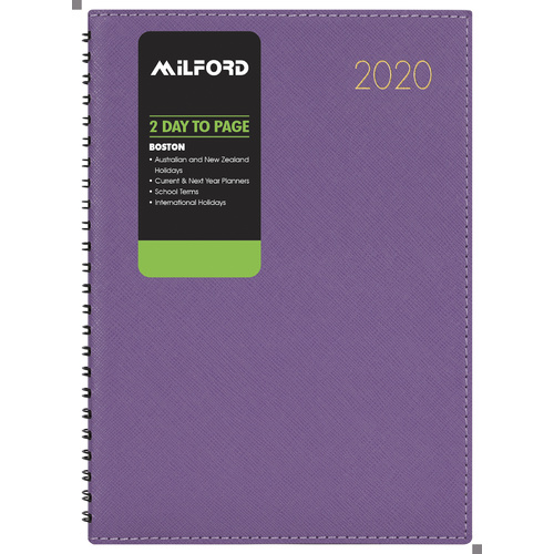 2020 Milford Boston Diary A4 2-Days to Page Wiro Purple 441116