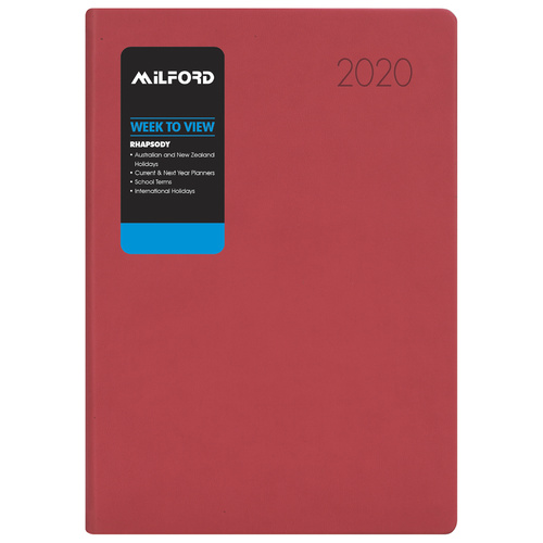 2020 Milford Rhapsody Pink Diary A4 Week to View 441025