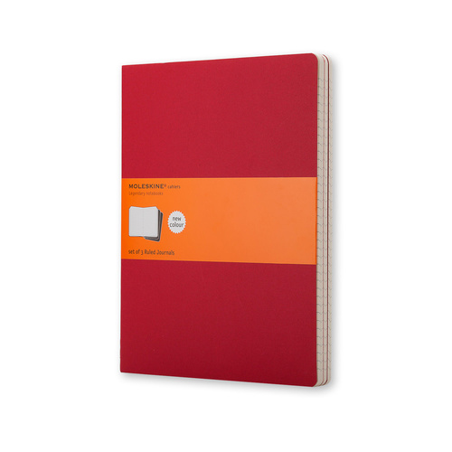 Moleskine Cahiers Journal, Extra Large, Ruled, Red, Set of 3